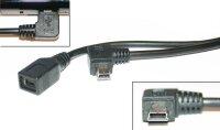 Mini USB-Kabel mit Winkelstecker (links)